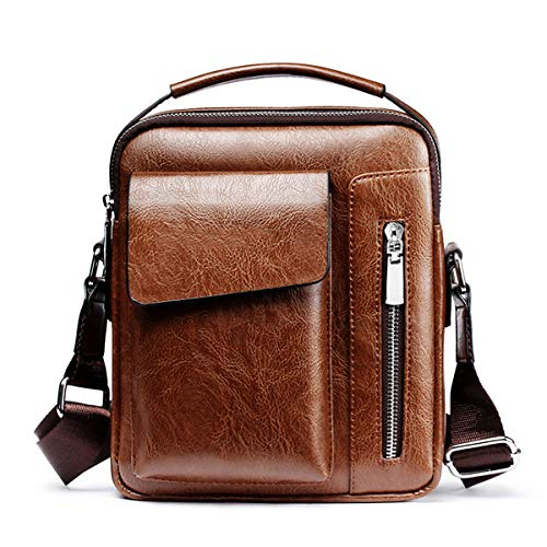 Vohoney Herren-Schultertaschen Umhängetasche Herrentasche Klein Crossbody Bag Handtasche Tasche UmhängenMessenger Bag Handgelenktasche Shoulder Bag (Braun Herren-Schultertaschen)