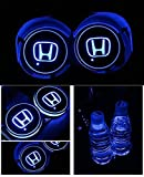 Dark rose 2pcs LED Car Cup Holder Lights, 7 Colors Changing USB Charging Mat Luminescent Cup Pad, LED Interior Atmosphere Lamp for All car Logo (-H-o-n-d-a-)