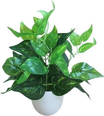 Unknow ロータスリーフグリーン大根エバーグリーン人工植物緑色植物ホーム屋内と屋外の装飾プラスチック鉢植え(鉢付き)小盆栽の飾り (Color : Green radish)