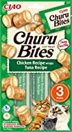 INABA Churu Bites - Cat Treats to feed from the hand - Crispy pouches with creamy filling - tuna, Gr...
