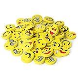 INTVN 40 Stück Emoji Smiley Radiergummis für Kinder, Spielzeug Gastgeschenk Geschenke für Geburtstag Party Festival neues Jahr Weihnachten, gelb