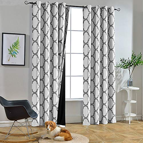 Melodieux Moroccan 100% Blackout Curtains for Bedroom 84 Inches Long, Living Room Thermal Insulated Black Liner Grommet Drapes, 52 by 84 Inch, Off White/Grey (2 Panels)
