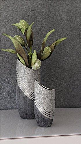 Gilde Keramik Halbmondvase 'Bridgetown' grau, silber 43210