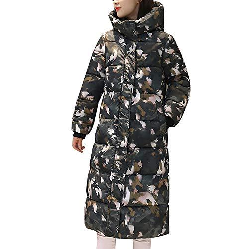Winterjas dames Dasongff print gewatteerde jas lange overgangsjas legergroen wintermantel grote maten donsjas lichte donsjassen rits jas