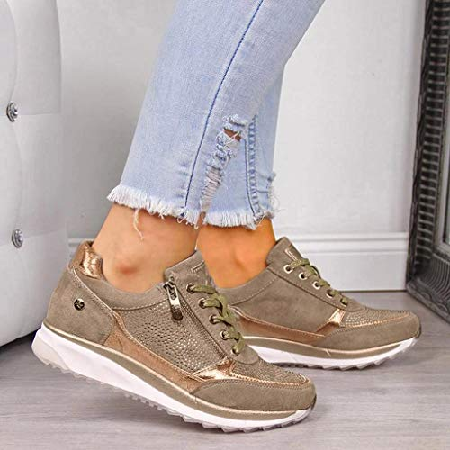 Zapatillas De Mujer Plataforma De CuñA Zapatos Casuales De Diamantes De ImitacióN De Plataforma Zapatillas con Cremallera Comodidad Antideslizante Zapatos De Trekking MontañIsmo Zapatos Al Aire Libre