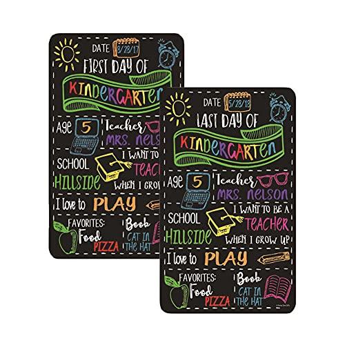 FANDE Lavagna Primo Giorno di Scuola Segno – 1st & Last Day Chalkboard Sign, Riutilizzabile Ritorno a Scuola Segno per Bambini, per Scuola Materna Casa Scuola Materna, 2 Pezzi