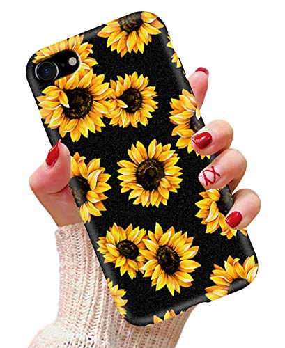 iPhone 8 case, iPhone 7 case, iPhone SE 2020 Case, LYWHL Sunflower Never Fade Flexible Silicone Frosted Case Anti-Scratch Soft TPU Cute Flower Case Cover for iPhone SE, iPhone 7, iPhone 8 (Black)