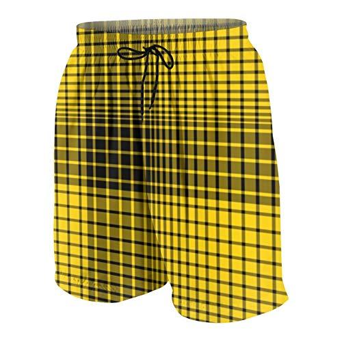 Meiya-Design Richmond Colors Tiger Plaid Print Traje de baño para hombre, traje de baño, surf, playa, pantalones cortos de secado rápido con bolsillos