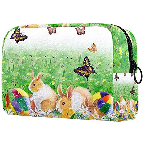 Bolsa de Maquillaje compacta Bolsas de cosméticos de Viaje portátiles para Mujeres niñas Neceser,Conejito de Pascua Huevos Flores de Primavera y Mariposa