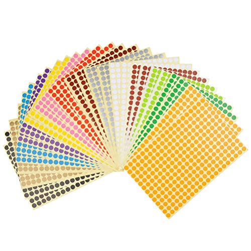 YOTINO 28 Blätter Klebepunkte bunt Etiketten Markierungspunkte Ø 8mm Sticker 7280 Punkte 14 Farben runde Punktaufkleber Set
