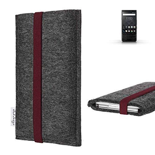 flat.design vegane Handy Tasche Coimbra für BlackBerry KEYone Black Edition - Schutz Hülle Tasche Filz vegan fair Bordeaux