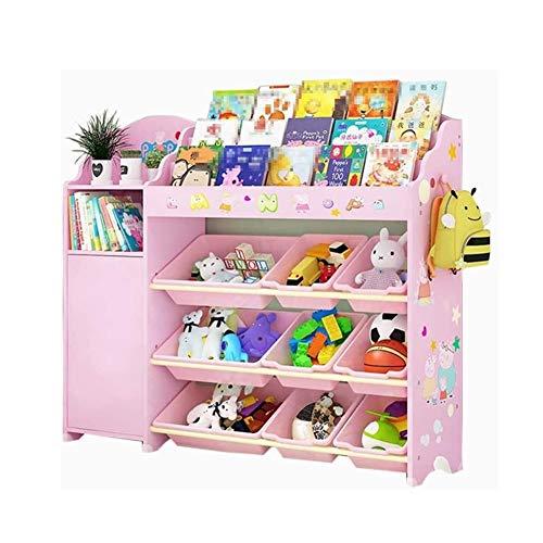 Estanteria Libros Muebles de niños Biblioteca muchacho de la historieta de habitaciones y de la muchacha de almacenamiento Juguete rack dormitorio multi-plataforma del bebé estantería Kid princesa Pin