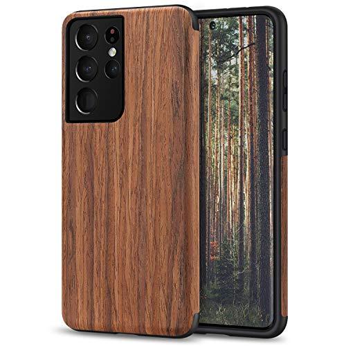 TENDLIN Kompatibel mit Samsung Galaxy S21 Ultra Hülle, Holz & TPU Silikon Hybrid Handyhülle Kompatibel mit Galaxy S21 Ultra 5G (Rotes Sandelholz)