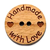 NaturSchatulle Holzknöpfe Motiv Handmade with Love | 5 Stück Kirsche 2 Loch Knöpfe Holz DIY Basteln Nähen Schmuckherstellung Annähen Kinderknöpfe