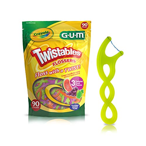GUM Crayola Twistables Flossers, Fluoride Coated, Twisted Fruit Flavors, Ages 3+, 90 Count $2.99