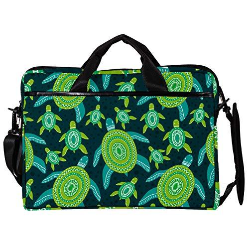 Unisex Computer Tablet Satchel Bag,Lightweight Laptop Bag,Canvas Travel Bag,13.4-14.5Inch with Buckles Turtles Sea Green