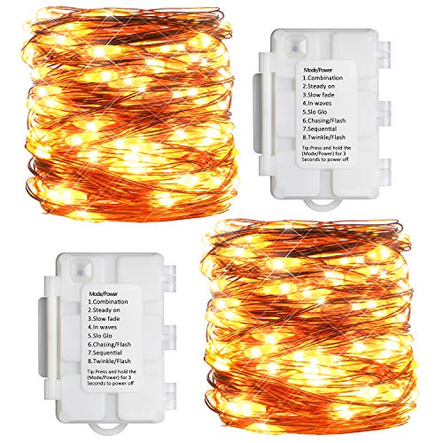KooPower 100 LEDs Battery Operated Fairy Lights 10m/36ft Outdoor Fairy Lights with Timer Waterproof Benable Copper Wire String Lights for Bedroom, Wall, Wedding Birthday Party, Christmas (2 Pack)