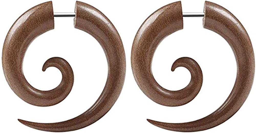 Forbidden Body Jewelry Organic Sawo Wood Fake Spiral Plug Earrings with 16g Steel Post, Sold as Pair
