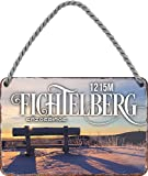 """schilderkreis24 – Blechschild """"Fichtelberg Erzgebirge 1215M"""" Berg Ausflugsziel Deko Schild Urlaub Reisen Ort Landschaft Metallschild Retro Türschild Vintage Geburtstag Weihnachten 18x12 cm"""
