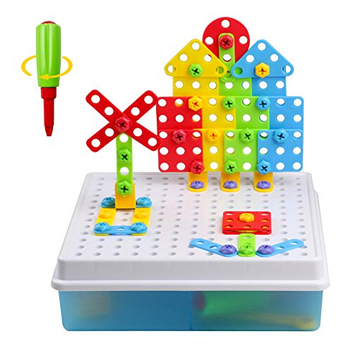 Fajiabao Construction Toys Mosaic Game Puzzle 3D DIY Building Block Creative Pegboard Toy with Screw Nuts Tools for Kids Girls Boys 3 4 5 Year Old