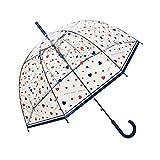 SMATI Paraguas Largo Transparente Love Rain con 8 Varillas en Forma de Campana y su apuerta automatica