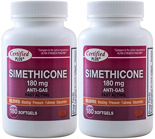 Simethicone 180 mg 360 Softgels Anti-Gas Gluten Free Generic for Phazyme Ultra Strength Fast Relief of Stomach Gas and Bloating 180 Gelcaps per Bottle Pack of 2 Total 360 Gelcaps