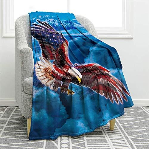 Chickwin Flanelldecke Kuscheldecke, 3D Tier Drucken Super Soft Weiche Wohndecke Warm Flauschige Decke TV-Decke Mikrofaserdecke Sofadecke oder Bettüberwurf Tagesdecke (Adler,150x220cm)