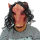 JIGSAW SAW Máscara de cerdo con pelo sintético - Perfecto para carnaval y Halloween - Disfraz de adulto - Látex, unisex Talla única