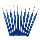 PAFUWEI Fashion Metal Knitting Needles 20 Pieces Blue Crochet Hooks Kits with Ergonomic Grips 0.6-2.0mm,Convenient to Knitting a Sweater