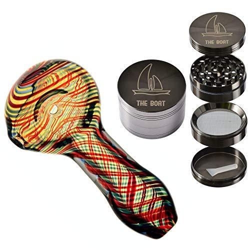 Pipa cristal pequeña - THE BOAT Shelly 7 cm + THE BOAT Grinder metalico Ligero 4 Piezas Color Plateado con rascador - Para su uso en tabaco.