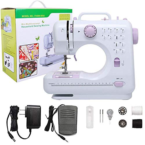 DuvinDD Sewing Machine Mini Portable Sewing Machines Home Easy Sewing for Kids and Beginners 12 Built-in Stitches/Foot Pedal/Dual-Speed/Dual-Thread/Reverse Sewing, Perfect Children Mother Day Gift