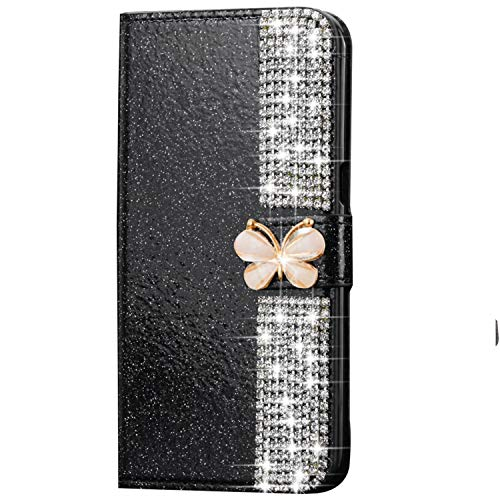 LAPOPNUT for Samsung Galaxy s7 Edge Case, Bling Glitter Diamond Flip PU Leather Case 3D Butterfly Rhinestone Magnetic Wallet Case Protective with Card Holder Stand Cover for Women - Black