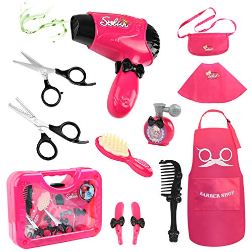 Hapgo Girls Beauty Salon Set Pretend Play Stylist Hair Cutting Kit Hairdresser Toys with Hair Dryer, Scissors, Barber Apron and Styling Accessories