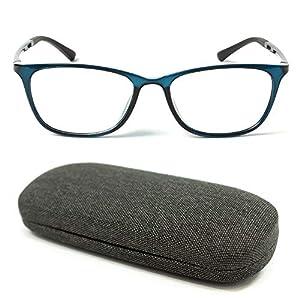 MIDI ワンランク上の超軽量メガネ (近眼用) ブラックデニム地のハードケース付き レンズ度数を左右別に変更可能 メガネ 眼鏡 めがね おしゃれ 度付き 度入り 近眼 近視 ウェリントン メンズ 近視 (ブルー/PD 62mm/レンズ度数 -5.50) (m316s,c2,PD62,550)