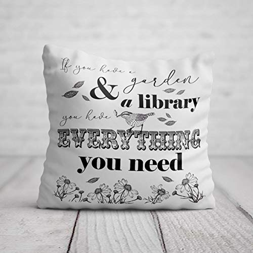 Garden Cushion - Book Lover Gardener Birthday Gift for Women - Gardening Gift for Her - Home Decor for Garden Sofa Chair Pillow 40 x 40cm / 16 x 16in