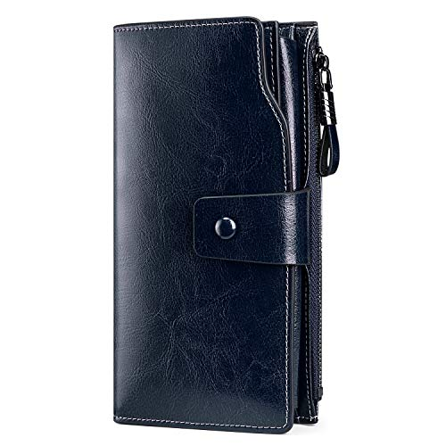 S ZONE RFID Blocking Wallet Large Capacity Wax Genuine Leather Purse with Zipper Pocket Coffee