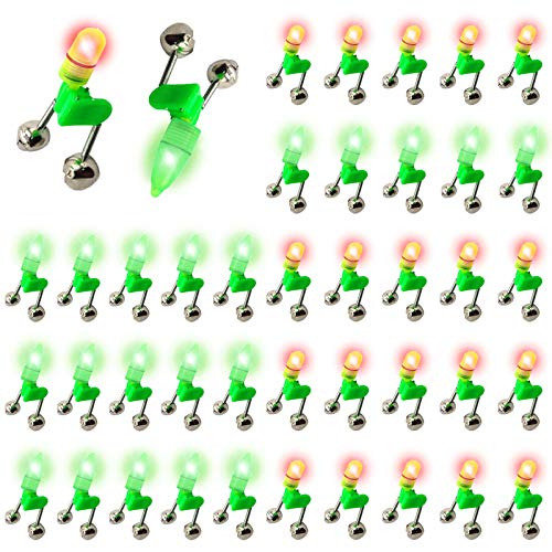 LED Night Fishing Rod Bait Alarm Bell 40pcs with Dual Ring Bells Fishing Indicator Fish Bait Alarm Portable Fishing Accessories Bait Alarm Bell Rod Clip Tip for Fishing(20 Red Lights, 20 Green Lights)
