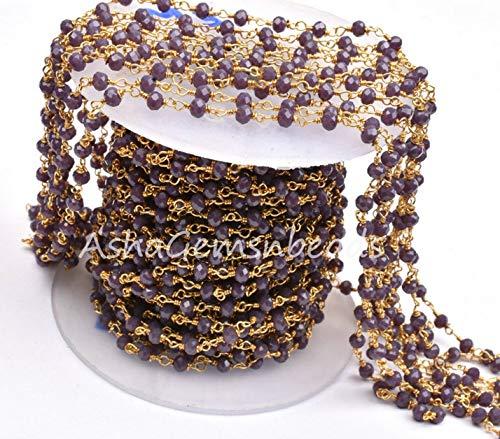 Shree_Narayani Cadena de rosario con cuentas de Rondelle, chapado en oro lavanda, de 3 a 3,5 mm, cadena de cuentas de piedra natal de la venta