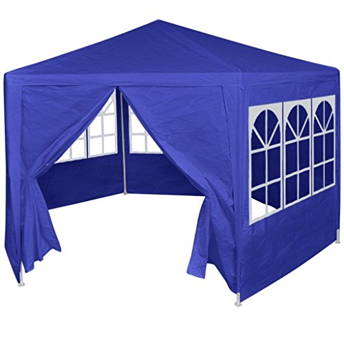 vidaXL Marquee with 6 Side Walls Blue 2x2m Outdoor Garden Gazebo Canopy Tent