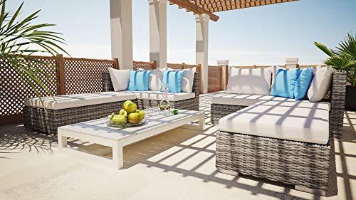 ARTELIA - Safira Polyrattan Loungemöbel - Gartenmöbel-Set für Garten, Terrasse, Wintergarten und Balkon, Rattan Sonneninsel Gartenmöbel, Ash Grau meliert