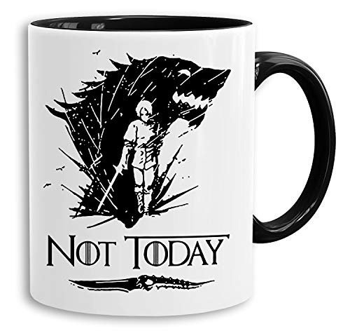 Not Today ll - Tasse Kaffeetasse Targaryen thrones game of stark lannister baratheon Daenerys khaleesi tv blu-ray dvd, Farbe:Weiß