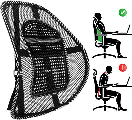 Palucart Supporto Lombare Schienale ergonomico Cuscino Pad Supporto con Fascette Regolabili per Sedile dell\'auto e Poltrona da Ufficio Colore Nero Basta dolori alla Schiena Traspirante ergonomico