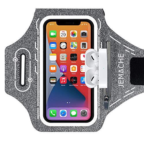 JEMACHE Running Brazalete para iPhone 12 11 XR X XS 12Mini 12Pro, Samsung Galaxy S20 S10 S9 S8, Deportivo Correr Móvil Brazo Banda Funda con Soporte para Airpods Pro (Gris)