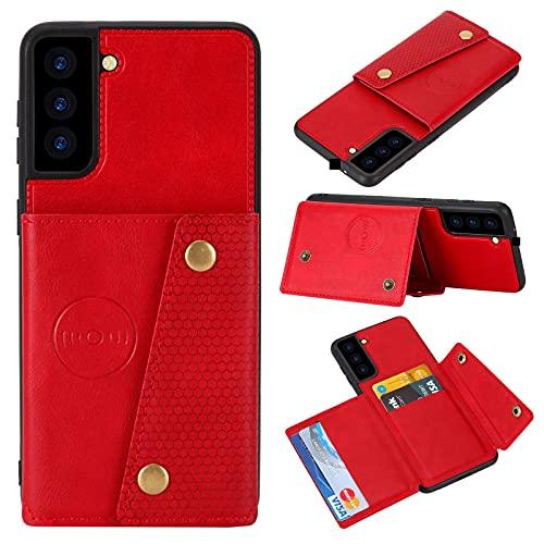 Galaxy S21 FE 5G Funda para Samsung S21 FE 5G Funda de parachoques, a prueba de golpes, funda tipo cartera, piel con tapa resistente (funciona con soporte para coche) (rojo)