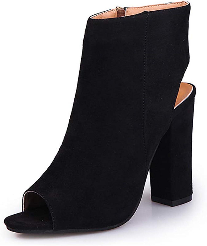 Inlefen Women's Fish Mouth high Heel Zipper Suede Short Boots Single shoes