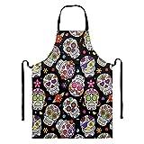 Delantal Sapotip con diseño de calavera de azúcar para hombres y mujeres con bolsillo para cocinar hornear, jardinería, cuello ajustable, resistente al agua