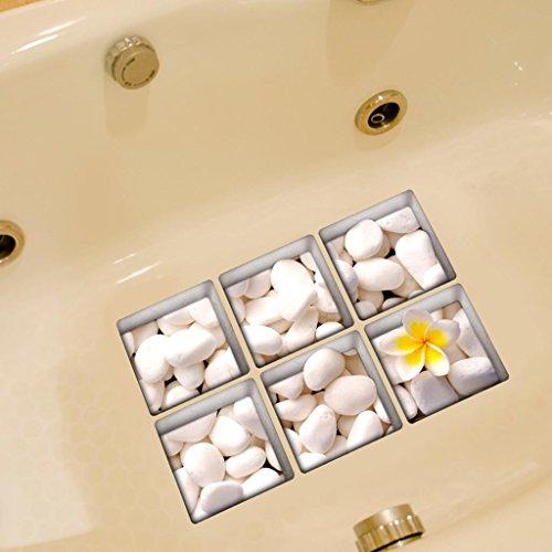 SM SunniMix 3D Anti Rutsch Sticker Aufkleber Antirutschmatte für Badewanne Dusche Bad - Kieselstein-Weiß