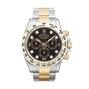 Fashion Shopping Rolex Cosmograph Daytona Black Diamond Dial Steel 18K Yellow Gold Men's Watch