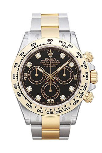 Fashion Shopping Rolex Cosmograph Daytona Black Diamond Dial Steel 18K Yellow Gold Men's Watch