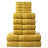 Todd Linens 10Piece Bathroom Towel Bale 500 GSM 100% Double Looped Cotton Soft & Absorbent: 4 Hand, 4 Face, 2 Bath | Bathroom Accessories (Mustard)